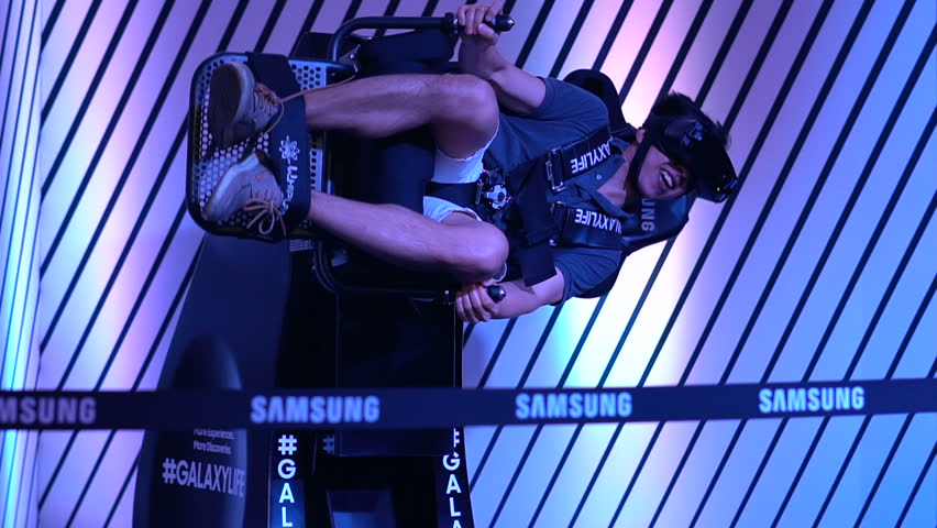 MONTREAL, CANADA - AUGUST 2017: Virtual Reality Motion Chair Samsung Galaxy Experience