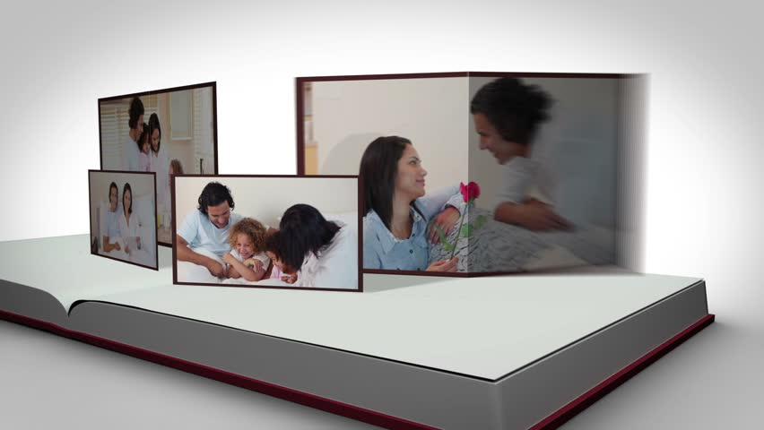 Animation of family videos on a book against a white background