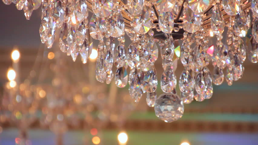 Sequence Of Different Shots Of A Crystal Chandelier In A Hall ...
