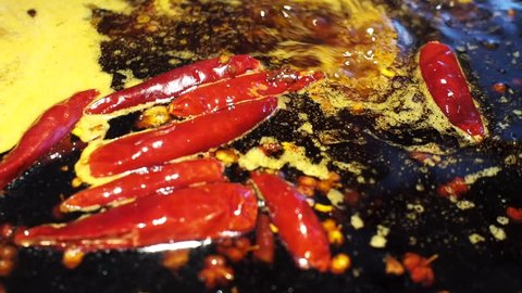 typical Chinese food in Chongqing and Sichuan , spicy boiling hot hotpot