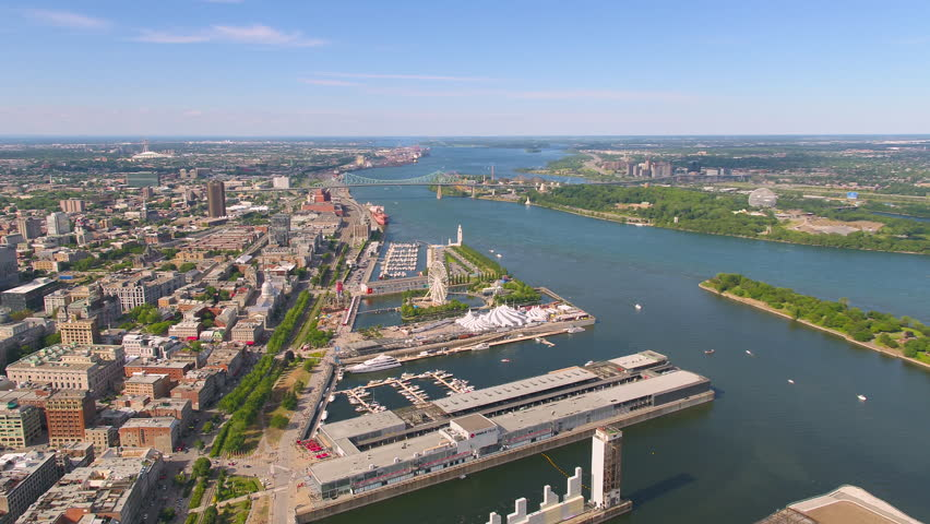 Montreal Quebec Aerial v69 Flying over waterfront area panning with river and city views | Shutterstock HD Video #30350662
