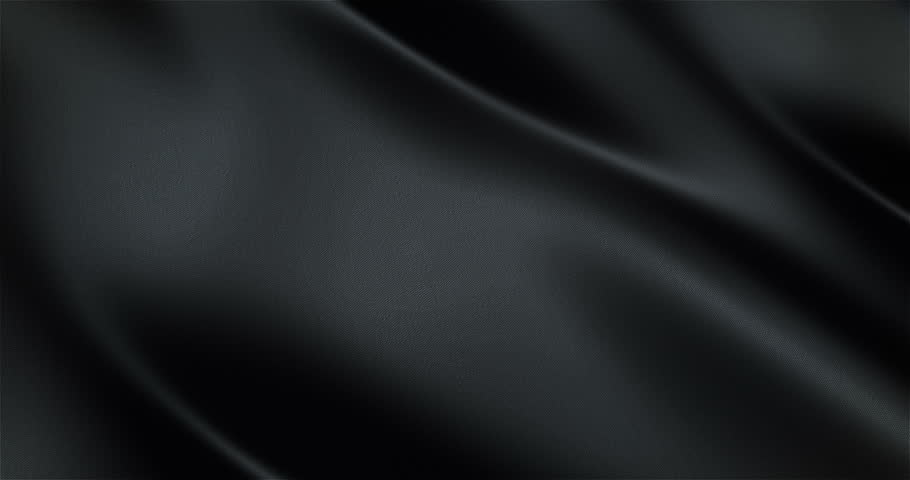 Black glossy cloth satin realistic seamless loop waving animation