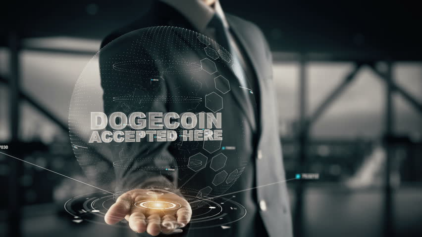 Dogecoin Accepted Here with hologram businessman concept