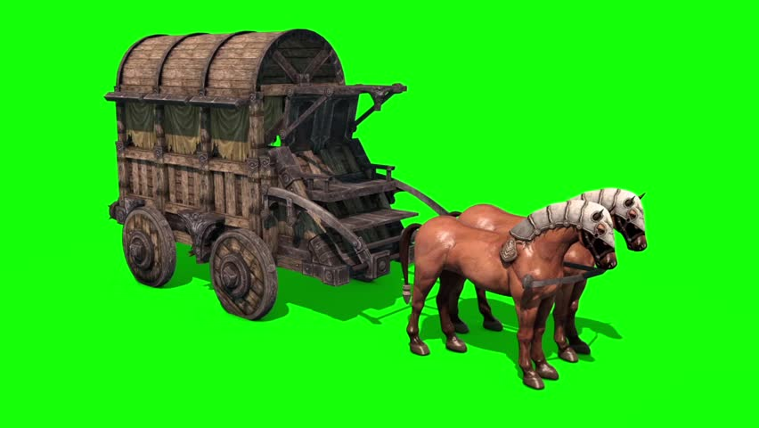 Carriage Horses Top Green Screen 3D Rendering Animation