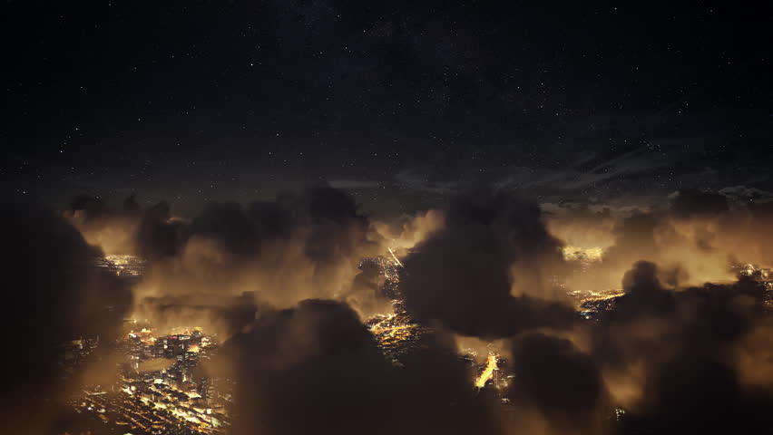 Flying over the deep night timelapse clouds with dark sky. Seamlessly looped animation. Flight through moving cloudscape over night city lights. Perfect for cinema, background, digital composition.