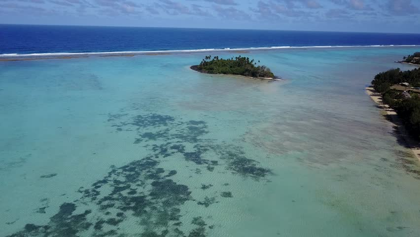 Polynesia Cook Islands tropical paradise aerial view panorama landscape | Shutterstock HD Video #30403222