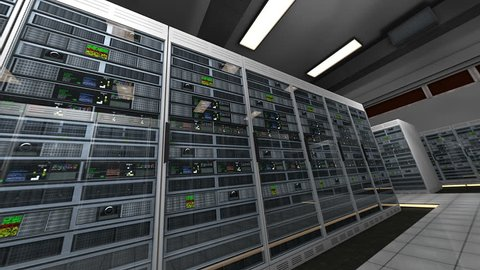 Server Room Blackout then Electricity Comes Back 3D Animation