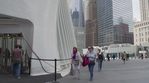 NYC,USA,10.05.2017. September 911 memorial at the site of a terrorist attack in downtown Manhattan. Dolly panoramic shot