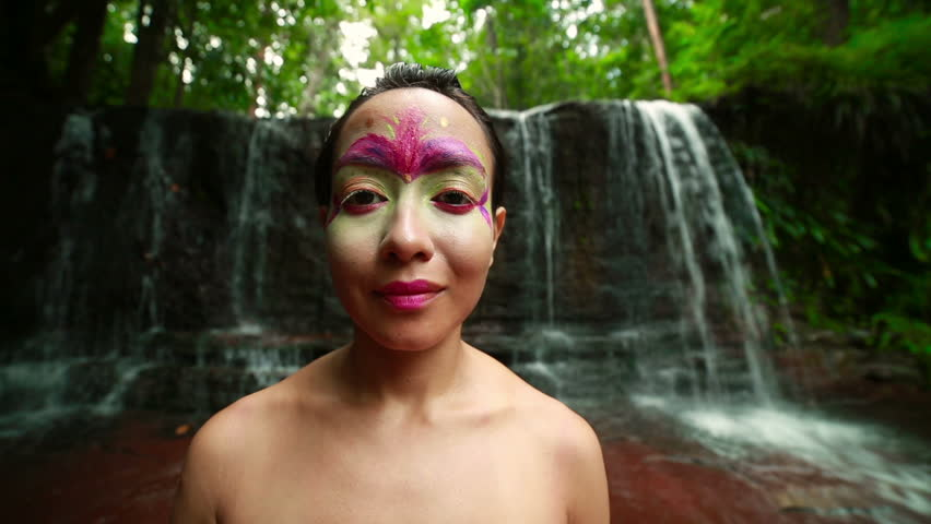 Borneo Rainforest Tribal Culture: Face Painting With Waterfall In ...