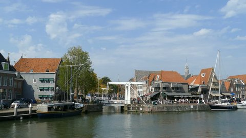 View over the city and harbor in Hoorn