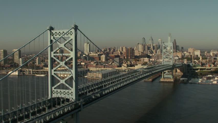 Aerial shot of Philadelphia from the Ben Franklin bridge.