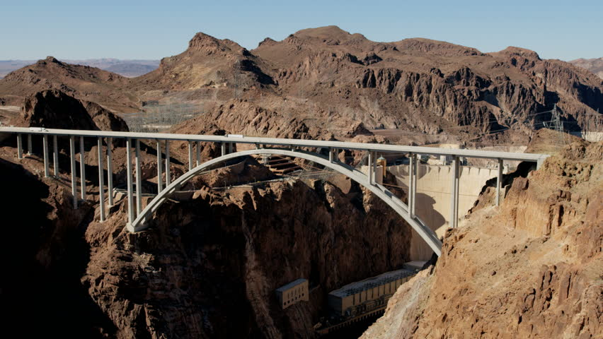 Aerial view Hoover Dam Lake Mead producing hydroelectricity above Colorado River Bridge on US 93 nr Las Vegas Nevada Arizona USA RED WEAPON