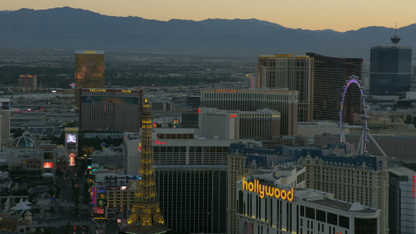 Las Vegas - May 2017: Aerial view at sunset of luxury Resort Hotels and Casinos illuminated Las Vegas Blvd Nevada USA RED WEAPON