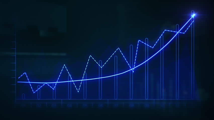 Financial data and diagrams showing a steady increase in profits. Blue. Economy background. More color options in my portfolio.