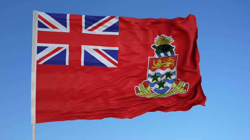 Looping flag for Cayman Islands Civil on flag pole, blowing beautifully in the wind. Includes alpha matte.