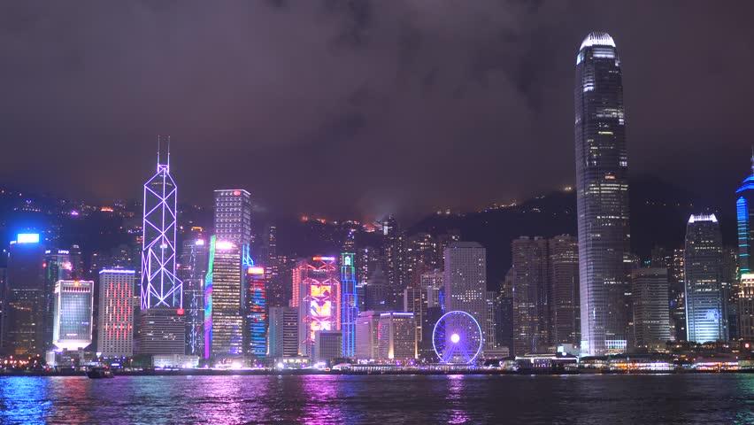 Hong-Kong, CHINA - Jul 01 2017: 4K, Panoramic Night View Harbor Of Hong Kong, Hongkong, China | Shutterstock HD Video #30506542