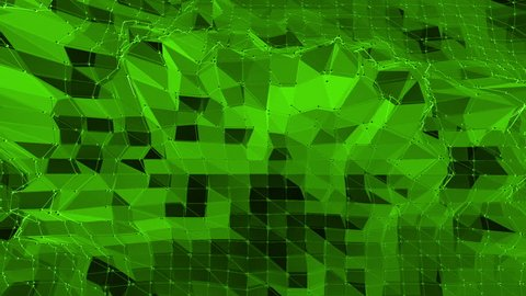 Green low poly background waving. Abstract low poly surface as ?omputer background in stylish low poly design. Polygonal mosaic background with vertex, spikes. Free space