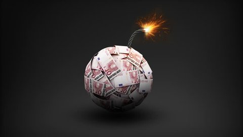 Euro currency makes bomb, Explode to make a typo 'CRASH'