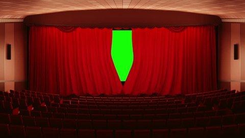 Opening red cinema curtains.  curtains open to reveal a screen in 16x9 aspect ratio. The Alpha Channel is included.