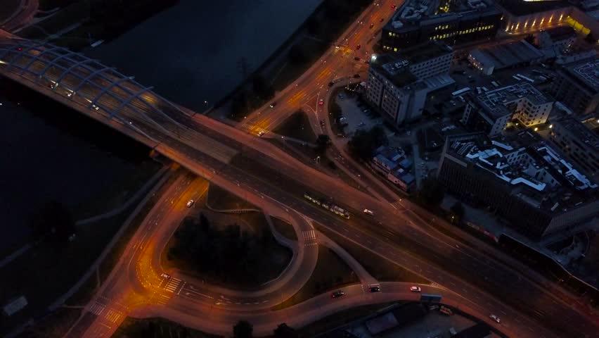Traffic at night on the highway in Krakow, a bridge across the Vistula River | Shutterstock HD Video #30562582