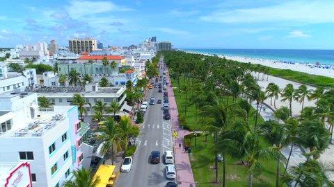 Aerial tour of Miami Beach Ocean Drive
