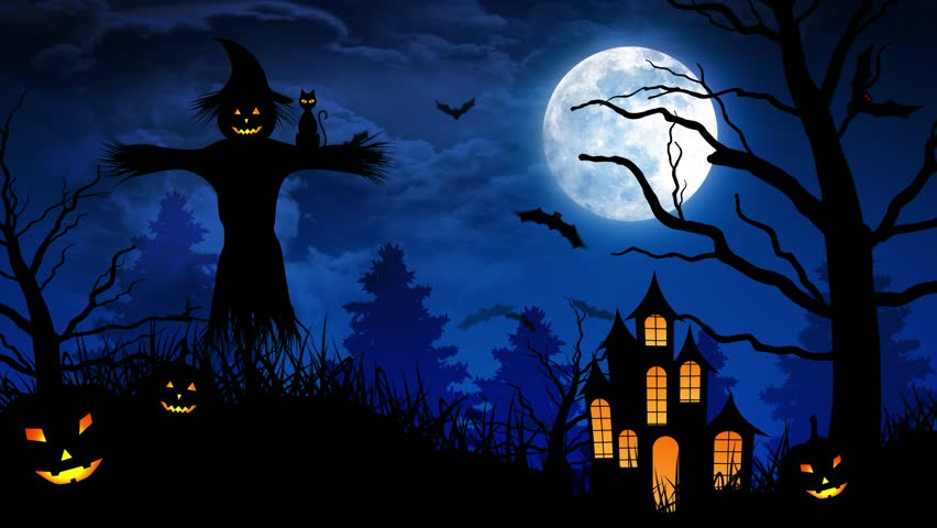 halloween background animation with the concept of spooky pumpkins moon and bats and scarecrow and - Halloween Background Video