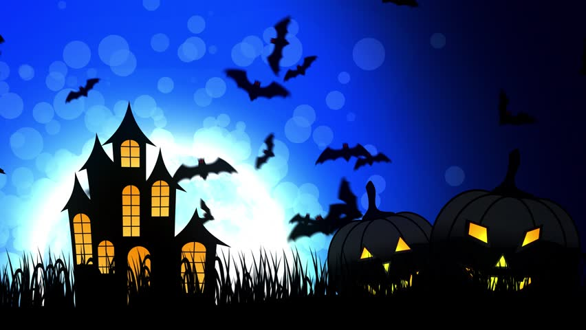 Halloween background animation with the concept of Spooky Pumpkins, Moon and Bats and Haunted Castle. | Shutterstock HD Video #30577762