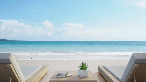 Sea view from terrace and beds in modern luxury beach house with blue sky background, Lounge chairs on wooden deck at vacation home or hotel - 3d rendering of tourist resort