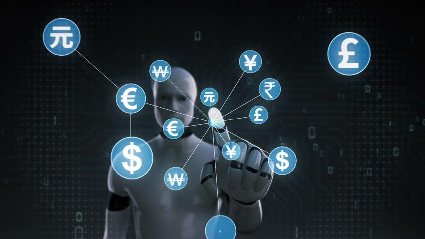 Robot, cyborg touching World currency symbol, Numerous dots gather to create a currency sign, dots makes global world map, internet of things. financial technology 1. | Shutterstock HD Video #30618322