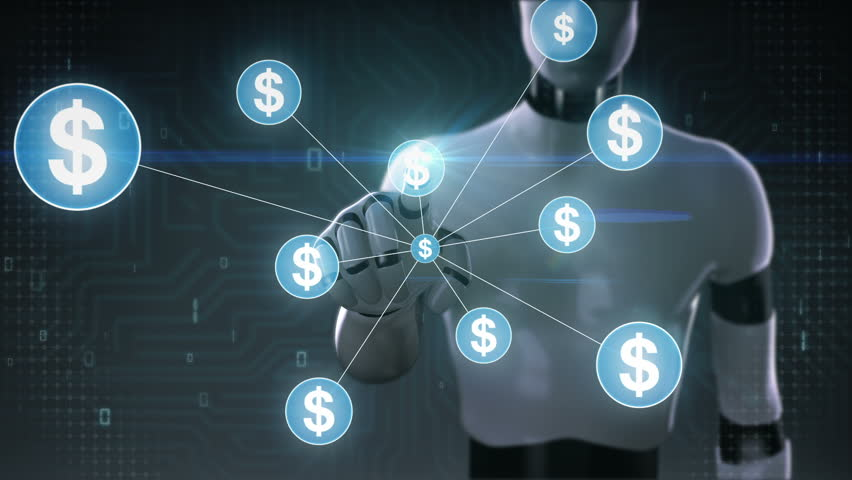 Robot, cyborg touching Dollar symbol, Numerous dots gather to create a Yen currency sign, dots makes global world map, internet of things. financial technology 2. | Shutterstock HD Video #30618352