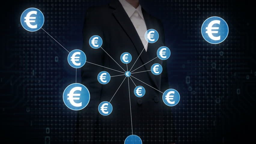 Businesswoman touching Euro currency symbol, Numerous dots gather to create a Euro  currency sign, dots makes global world map, internet of things. financial technology 1. | Shutterstock HD Video #30618412
