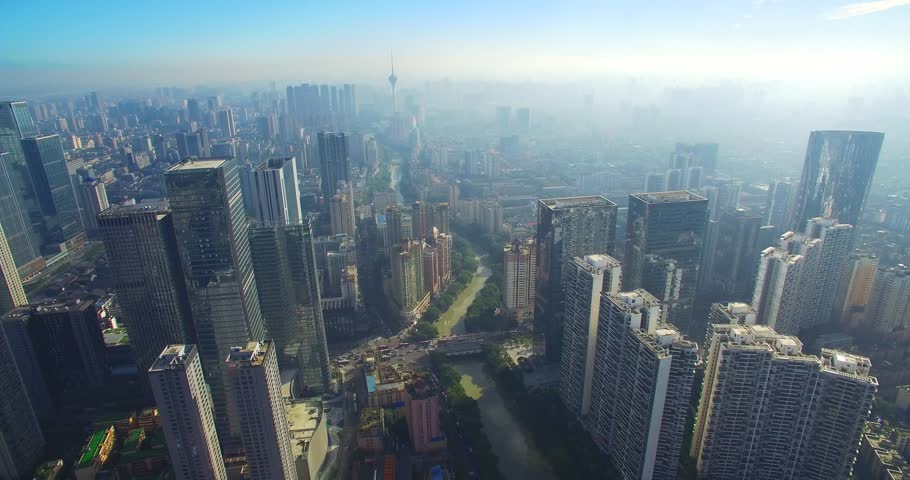 Aerial view of Chengdu cityscape of Sichuan China,with morning mist | Shutterstock HD Video #30628117