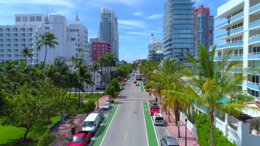 MIAMI BEACH, FL, USA - SEPTEMBER 7, 2017: Aerial video Miami Beach Ocean Drive south of 5th