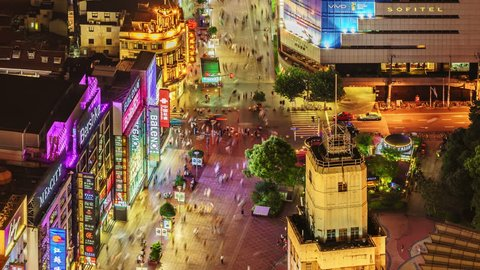 SHANGHAI - CIRCA Sept 2017: Aerial View of shanghai Nanjing Road interchange, heavy traffic jam.. Pedestrian mall Nanjing road is the biggest and busiest shopping street in Shanghai, China.