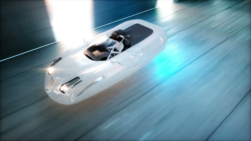 Futuristic Flying Car With Woman Stock Footage Video 100 Royalty