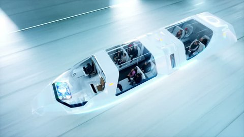 futuristic flying bus with peoples fast driving in sci fi tunnel, coridor. Concept of future. Realistic 4k animation. Loopable.