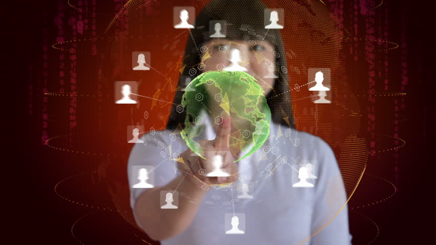 Woman touches a screen to reveal an animation of her social network | Shutterstock HD Video #3071962