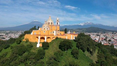 Cholula Mexico aerial shot of Church on pyramid in Puebla