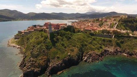 Beautiful aerial shot of Portoferraio and Forte Stella