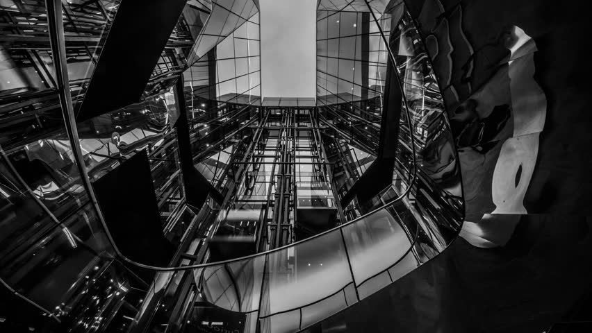 Location: London Shopping center elevator  Date: 12/2/2015 Resolution: 4096x2304 Time-lapse of London Shopping Center Filmed at midday on a Sony A7S with a Nikon AF-S NIKKOR 24-70mm f/2.8E  #30755122