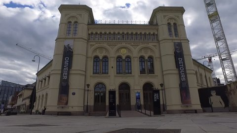 Oslo, Norway - July 2017 - Tourists visiting the historic Nobel Peace Centre
