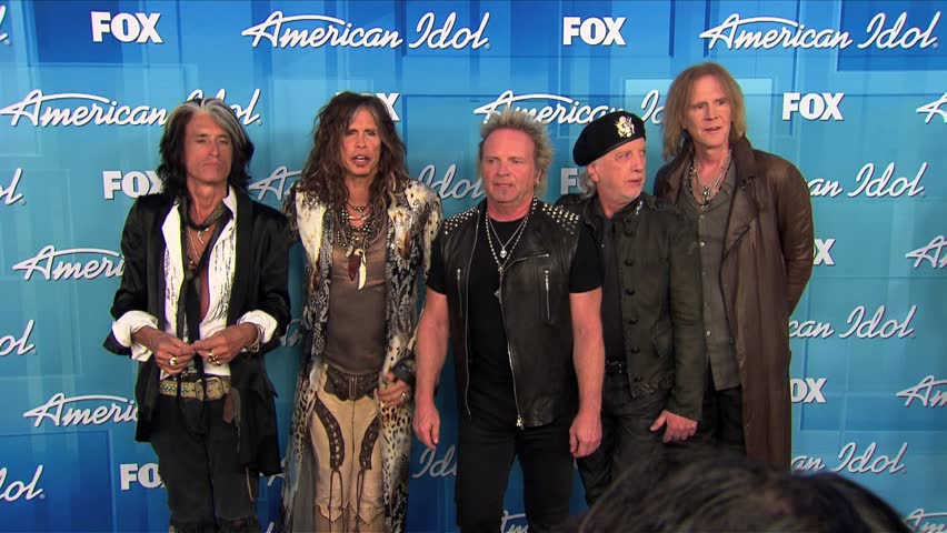 Los Angeles, CA - MAY 23, 2012: Aerosmith, Joe Perry, Steven Tyler, Joey Kramer, Brad Whitford, Tom Hamilton, walks the red carpet at the American Idol Finale 2012 held at the Nokia Theatre