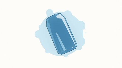 Animation rotation can of beer or lemonade in flat icon style on colorful background with circle with flying particles. Line art style. Animation of seamless loop.