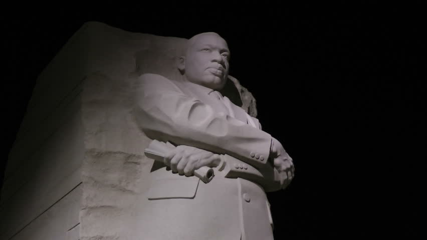 WASHINGTON, DC - CIRCA NOV 2011: Zoom in to Martin Luther King Memorial Stone of Hope, a dramatic figure during the regular night-time hours of the memorial park.