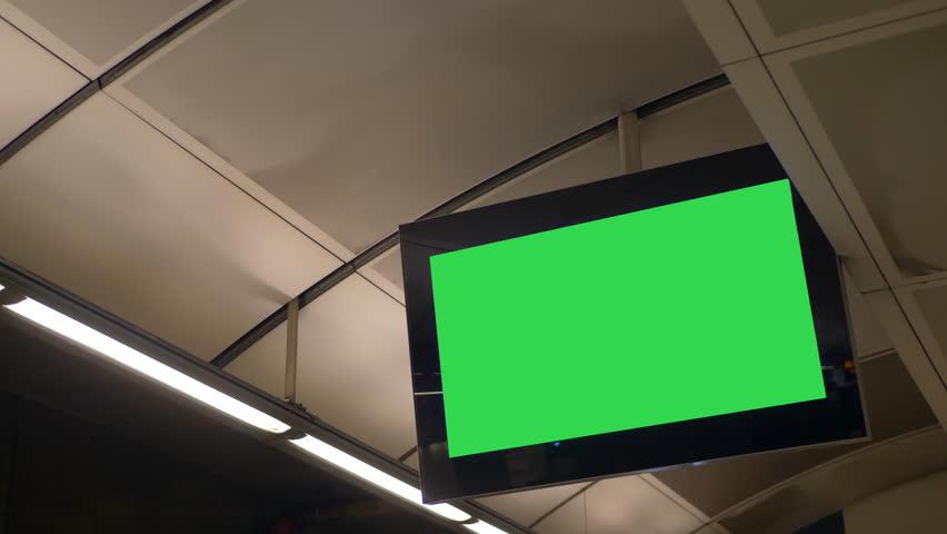 4K Blank Green Screen Flat Screen Monitor Advertisement Screen in Train Station