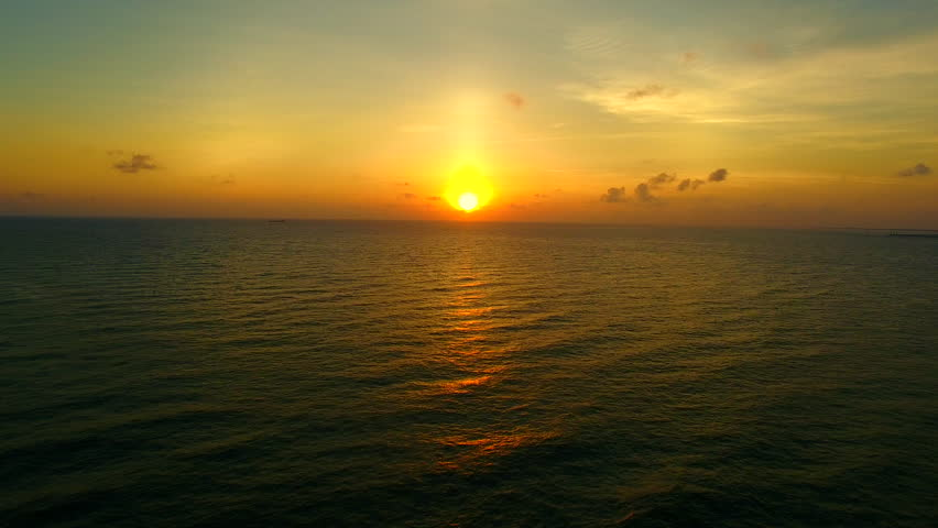 Aerial view of sunset over wave and Ocean   Shutterstock HD Video #30794602