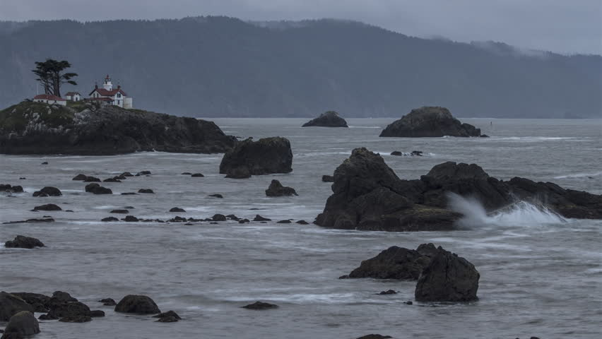 Time Lapse of Rocky Shore / Light House / Crashing Waves in Crescent City CA 4K