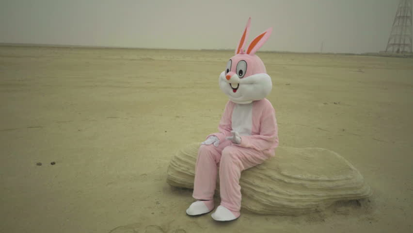 Easter rabbit sits on stone in desert. claps hands by knees. Crazy maniac or psycho in pink rabbit costume is sitting on sand