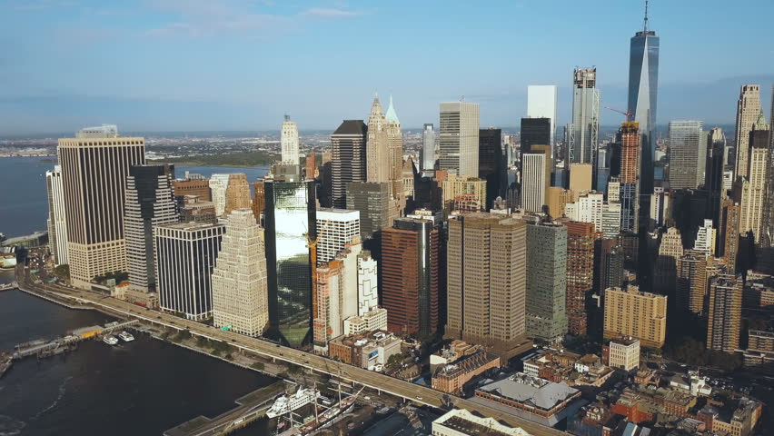 Aerial view of the Manhattan downtown in new York, America. Drone flying away from the city with skyscrapers. | Shutterstock HD Video #30836782