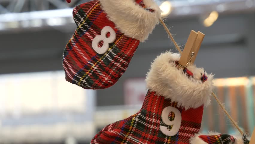Countdown to Christmas Advent Calendar. Winter gloves with numbers.